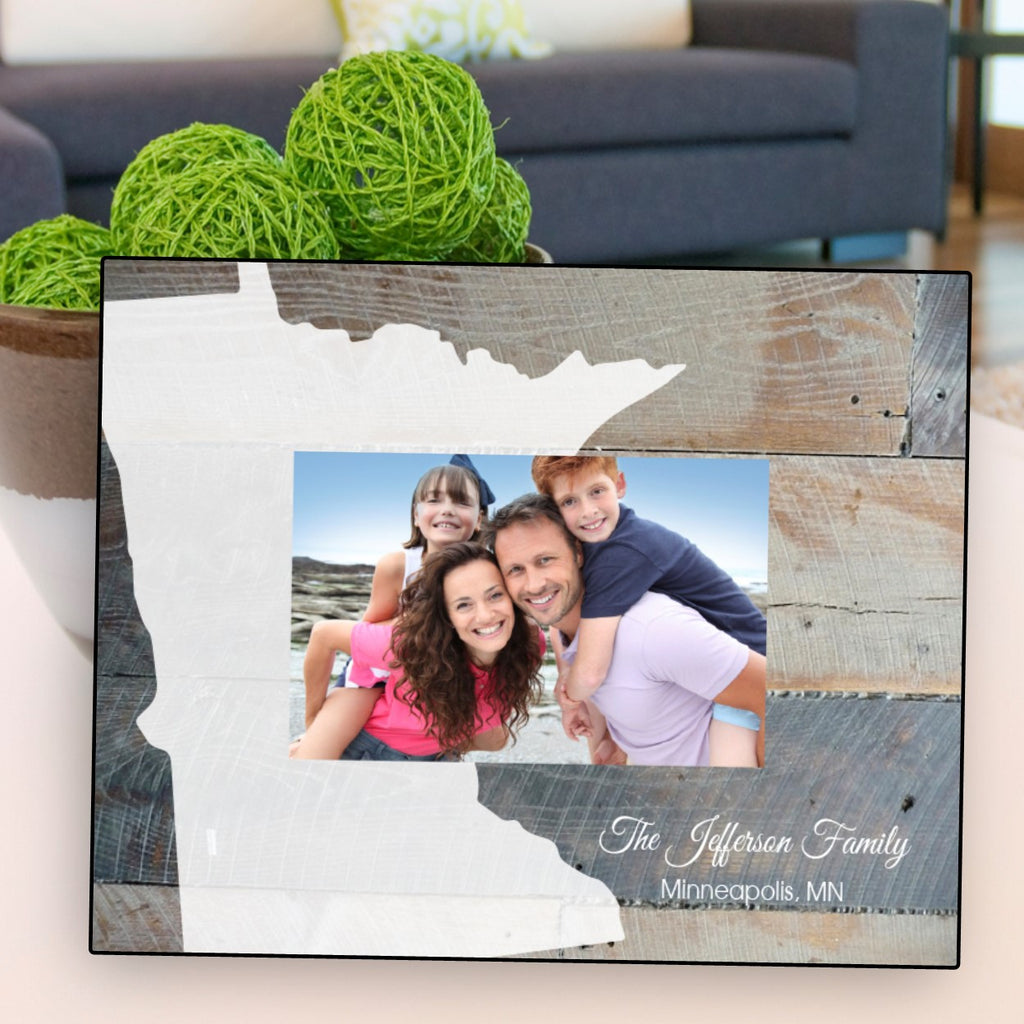 Rustic Wood State Picture Frame - Personalized