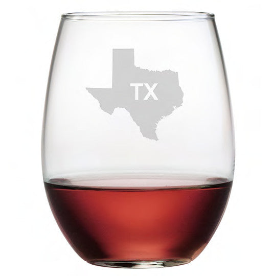 State Outline Stemless Wine Glasses ~ Set of 4