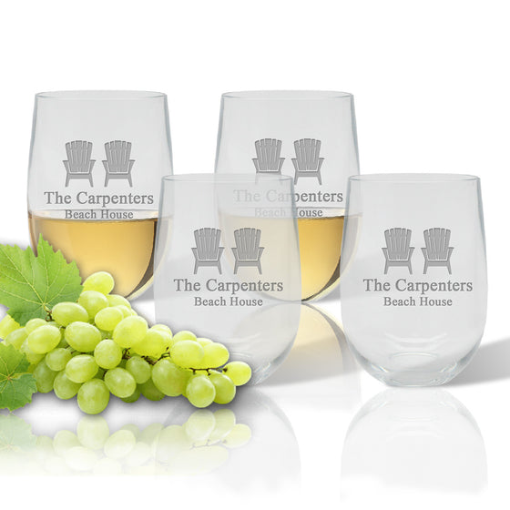 Adirondack Chairs Outdoor Acrylic Stemless Wine Glasses - Premier Home & Gifts