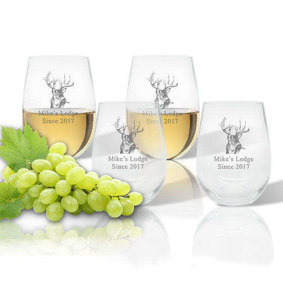 Hunters Lodge Outdoor Acrylic Stemless Wine Glasses - Cabin Gifts
