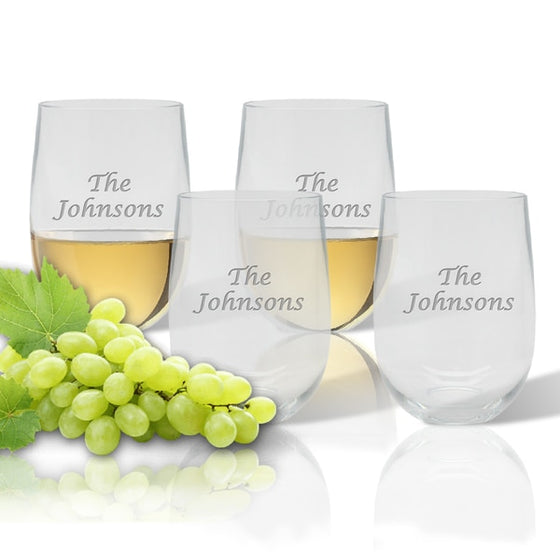 Personalized Outdoor Acrylic Stemless Wine Glasses ~ Set of 4