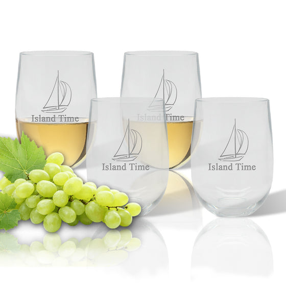 Island Time Outdoor Acrylic Stemless Wine Glasses - Premier Home & Gifts