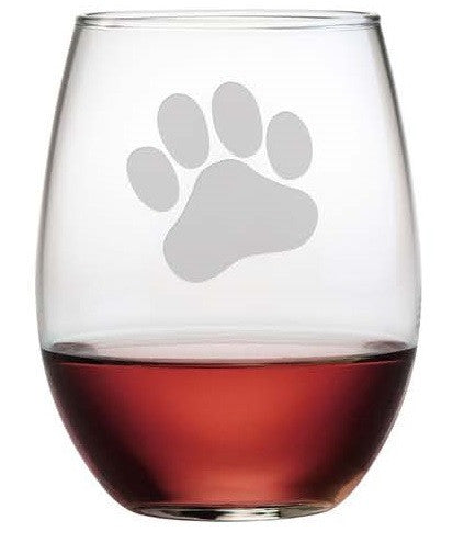 Paw Print Stemless Wine Glasses