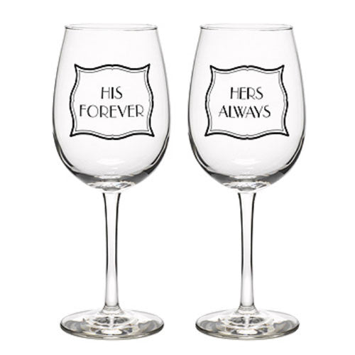 Forever and Always Wine Glasses ~ Set of 2 ~ Premier Home & Gifts