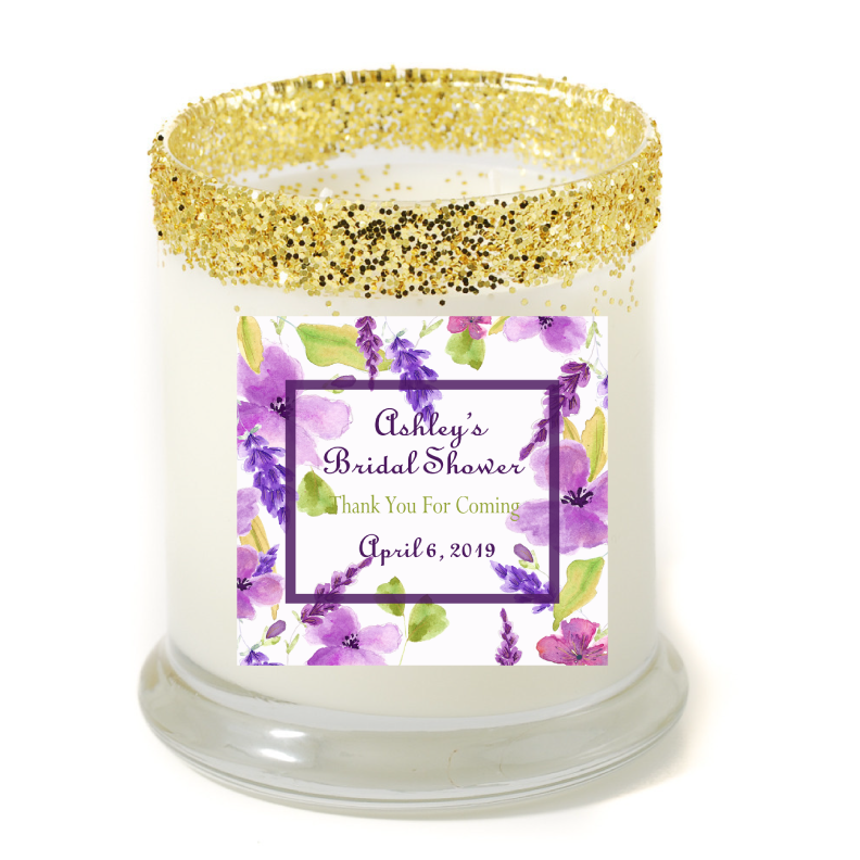 sweet violet bridal shower personalized candle