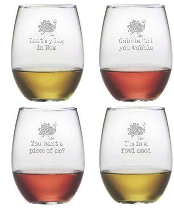Talk Turkey ~ Stemless Wine Glasses ~ Set of 4