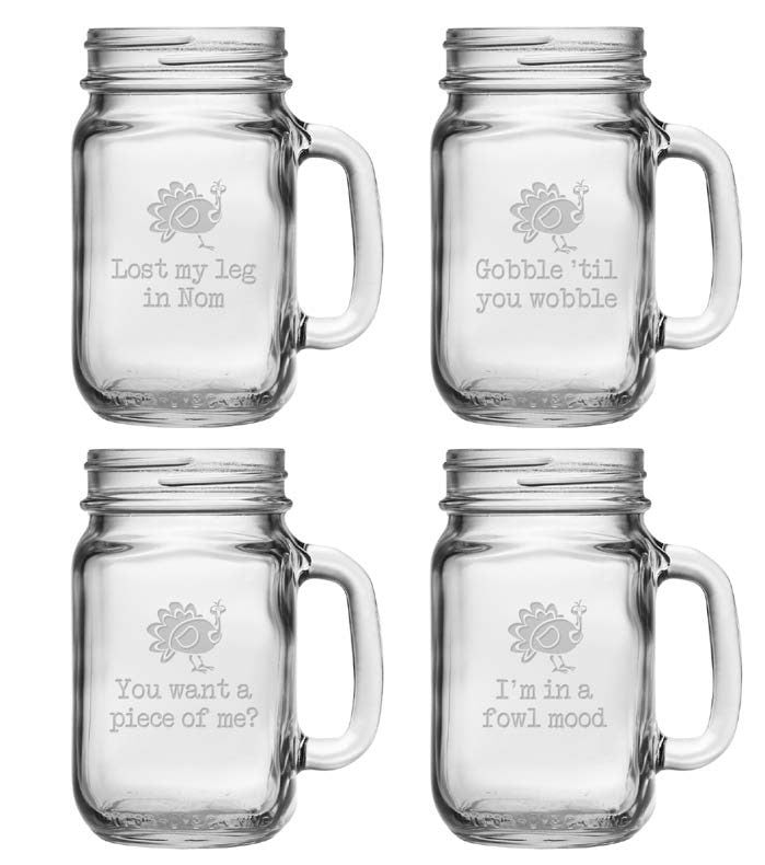 Talk Turkey Mason Jars with Handles ~ Set of 4