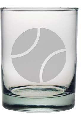 Tennis Ball Double Old Fashioned Glasses ~ Set of 4