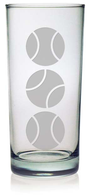 Tennis Balls Highball Glasses ~ Set of 4