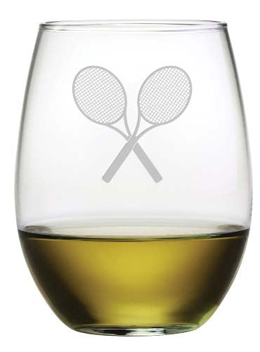 Tennis Racquet Stemless Wine Glasses