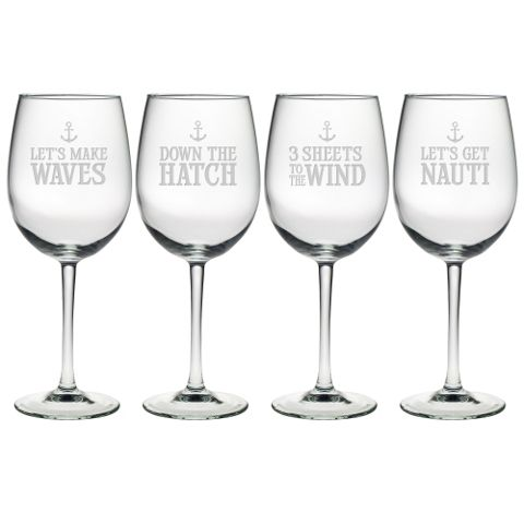 Down the Hatch Wine Glasses  - Premier Home & Gifts