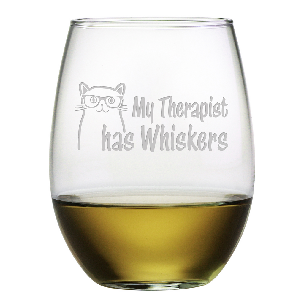My Therapist Has Whiskers Stemless Wine Glasses - Premier Home & Gifts