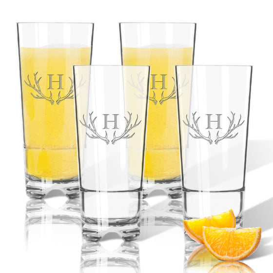 Antler Initial Highball Outdoor Acrylic Glasses - Premier Home & Gifts