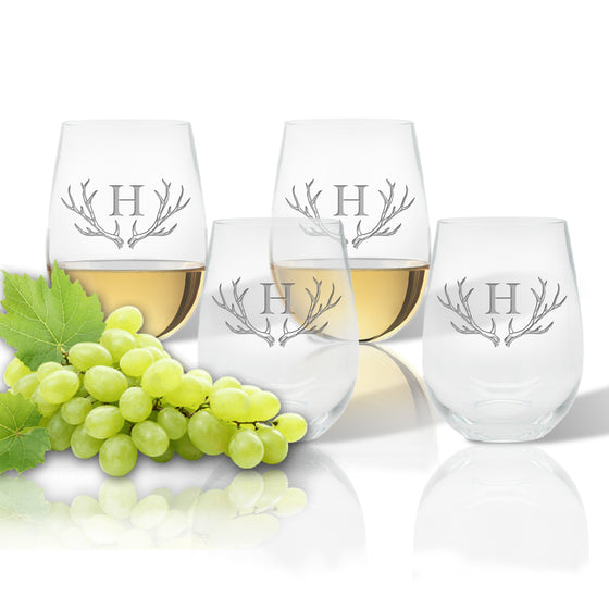 Antler Initial Outdoor Acrylic Stemless Wine Glasses - Premier Home & Gifts