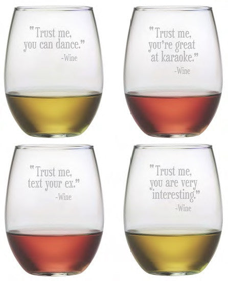 Trust Me Stemless Wine Glasses ~ Set of 4