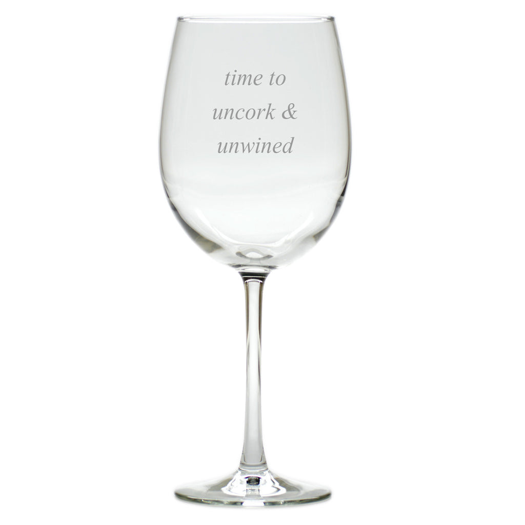 Uncork & Unwined Wine Glasses ~ Set of 4