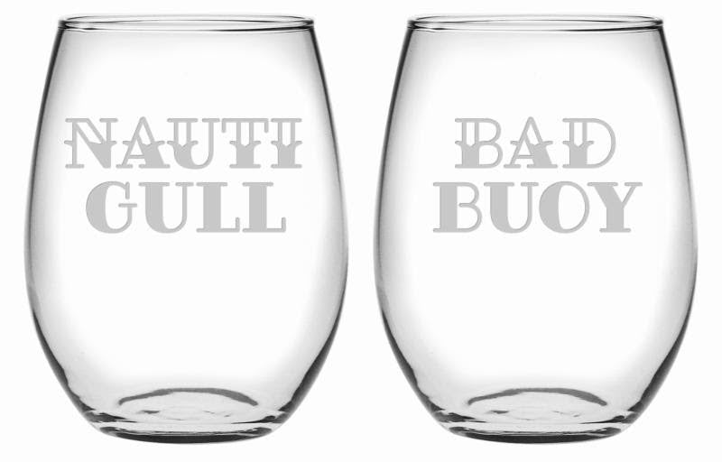 Nauti Gull & Bad Buoy Stemless Wine Glasses ~ Set of 2 | Premier Home & Gifts