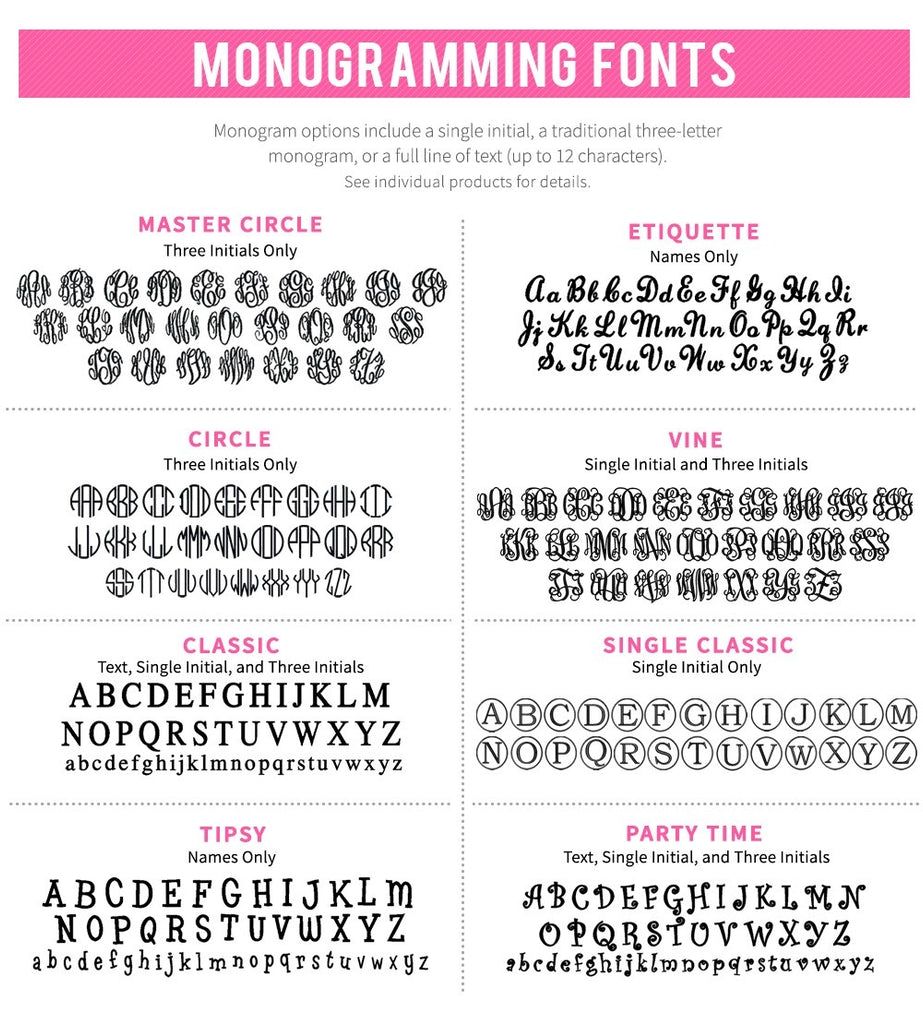 Monogramming Fonts - Personalized Gifts