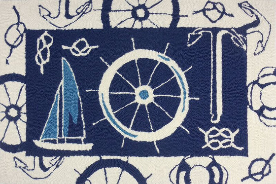 Blue & White Nautical Accent Rug