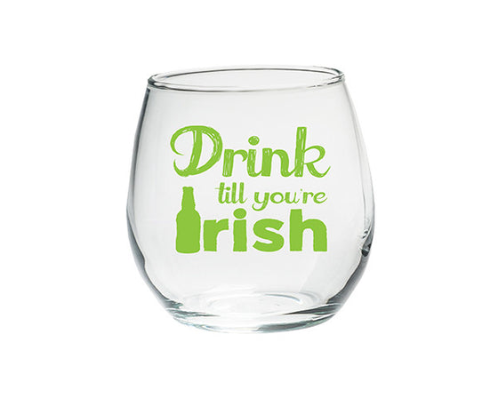 Drink Till You're Irish Stemless Glasses -  Set of 4