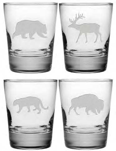 Western Wildlife Double Old Fashioned Glasses ~ Set of 4