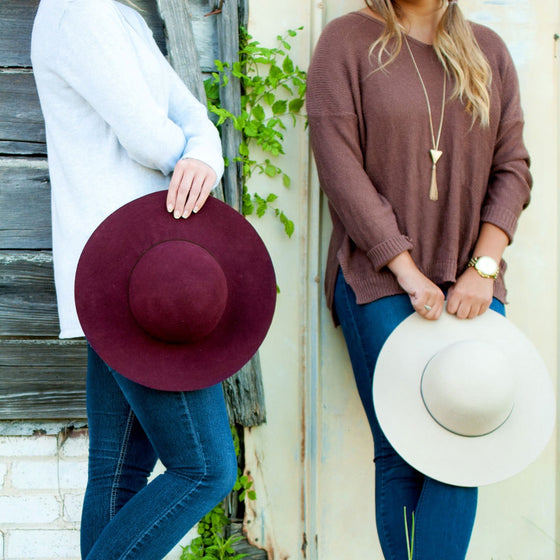 Floppy Wool Hat - Wine & Natural | Premier Home & Gifts