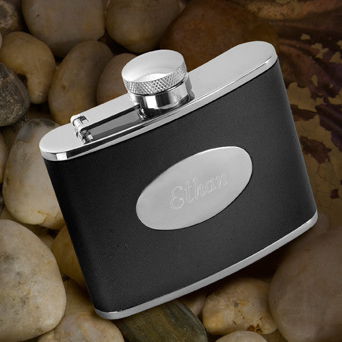 Stainless Steel and Leather Flask - Personalized