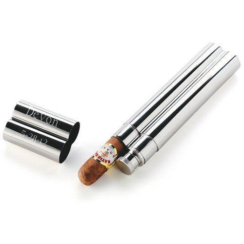 Stainless Steel Cigar Case with Flask - Personalized