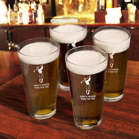 Tee Time Golf Pint Glasses - Set of 4