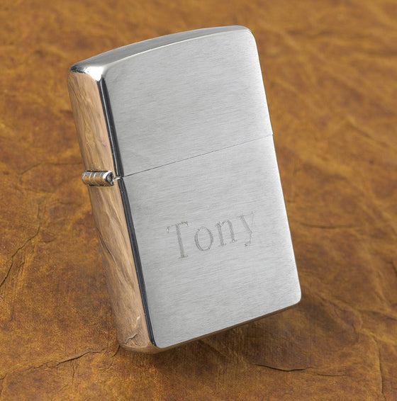 Brushed Chrome Zippo Lighter ~ Personalized