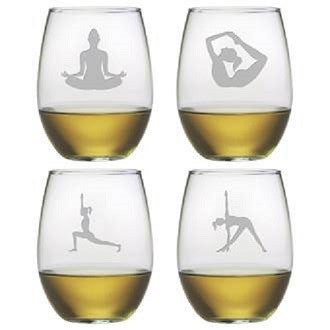 Yoga Poses Stemless Wine Glasses