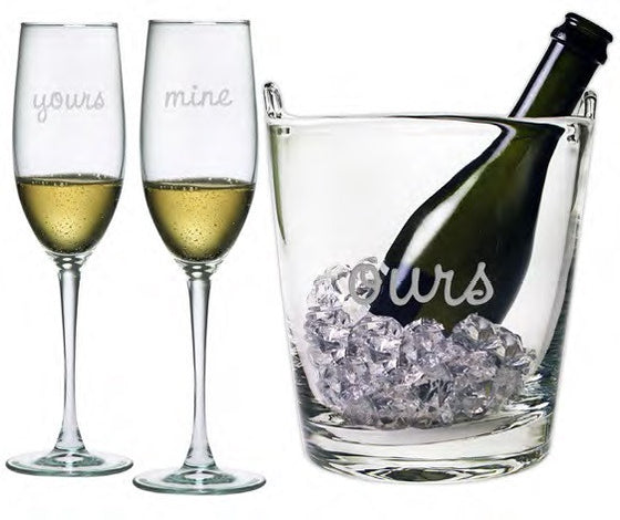 Yours, Mine & Ours Flutes and Ice Bucket
