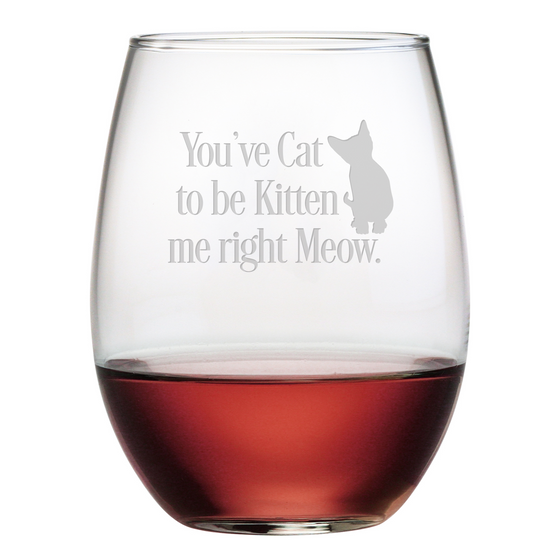 Cat to be Kitten Stemless Wine Glasses ~ Set of 4 - Premier Home & Gifts