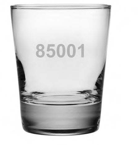Zip Code Double Old Fashioned Glasses ~ Set of 4