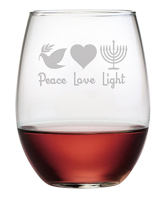 Peace Love Light Stemless Wine Glasses ~ Set of 4