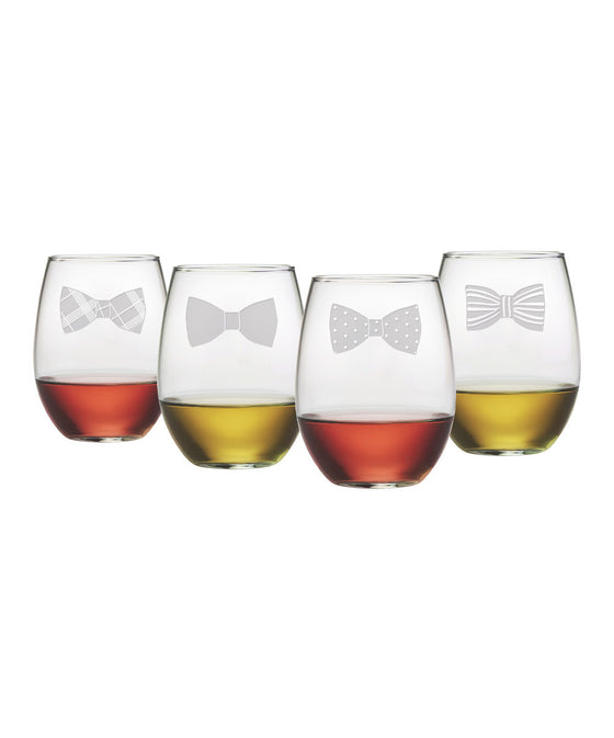 Bow Ties ~ Stemless Wine Glasses ~ Set of 4