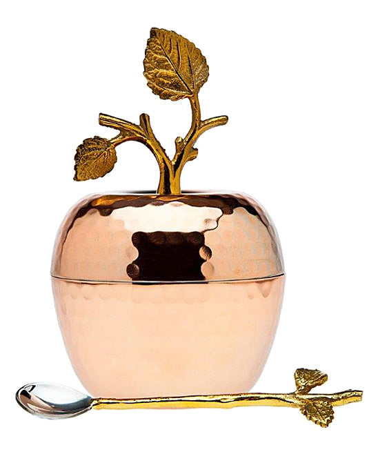 Copper Apple Lidded Dish with Spoon - Entertaining Gifts