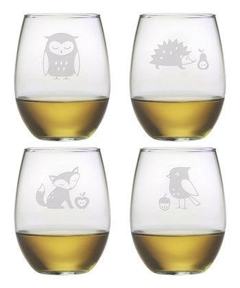 Forest Fauna Stemless Wine Glasses ~ Set of 4
