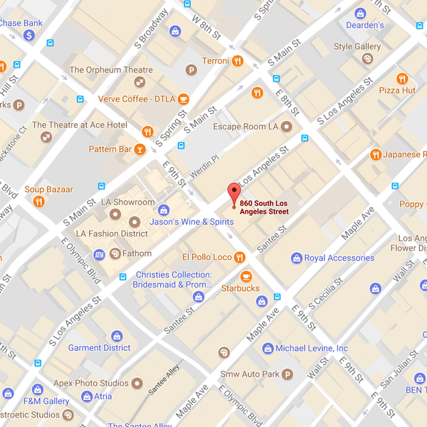 map of 6/30/17 Sample Sale Location: 860 S Los Angeles St