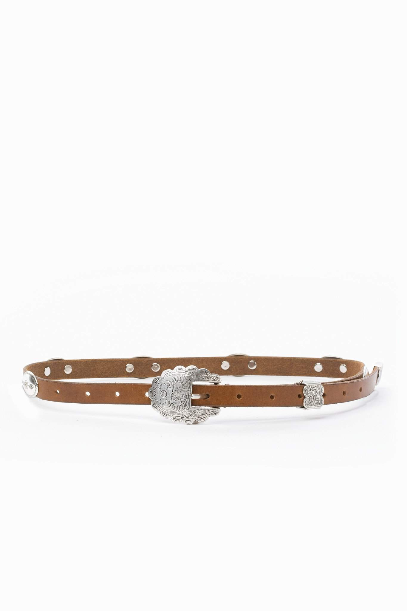 The Concho Belt with Etched Silver Buckle