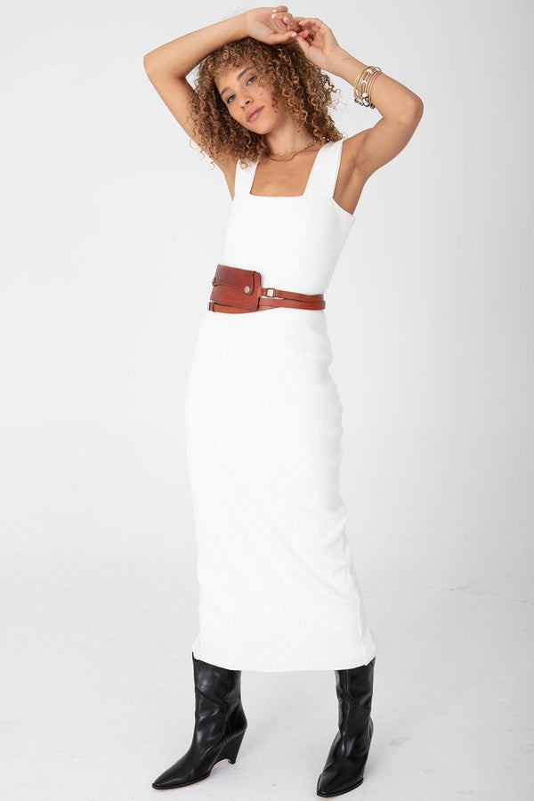 SQUARE NECK DRESS-HEAVY RIB