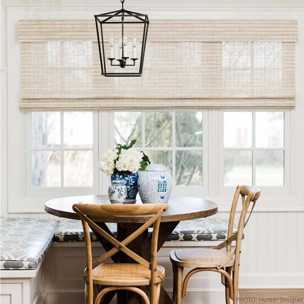 Hunter Douglas woven blinds in breakfast nook - available through Bountiful Flooring