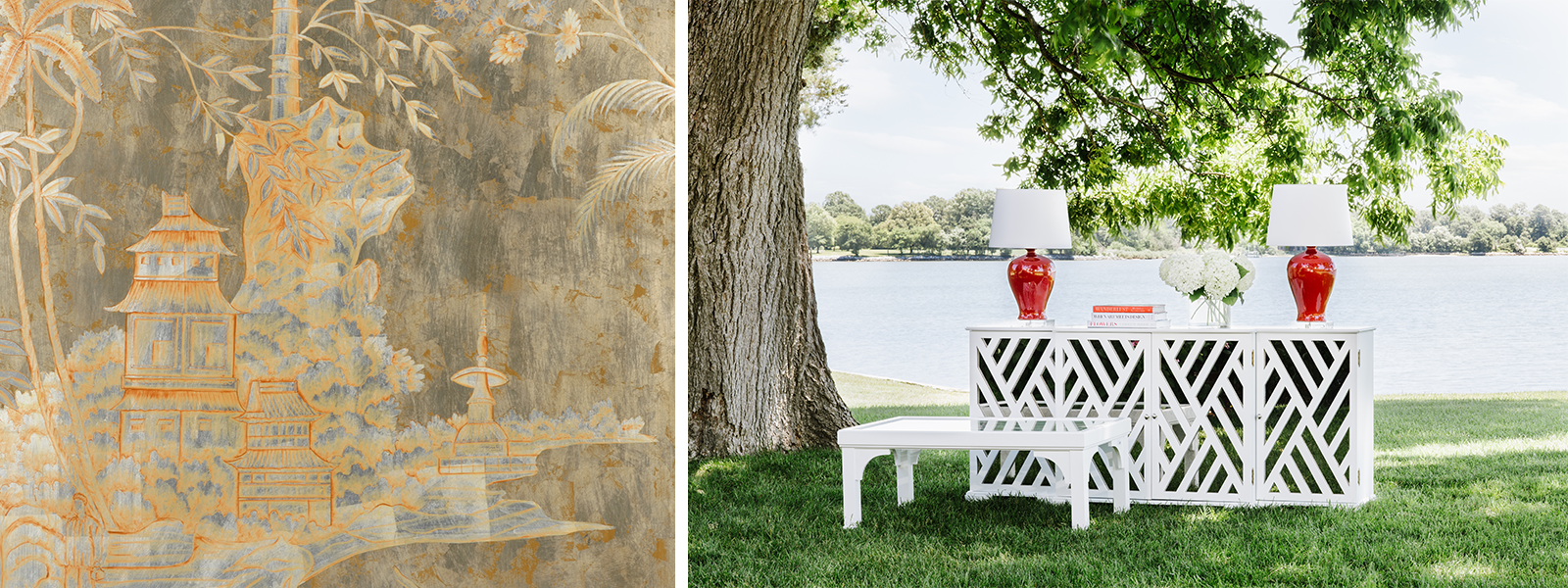 Jamie Merida Collection for Chelsea House - left side shows chinoiserie gold and silver-tone wood panel; right side shows white console cabinet and coffee table in an outdoor setting