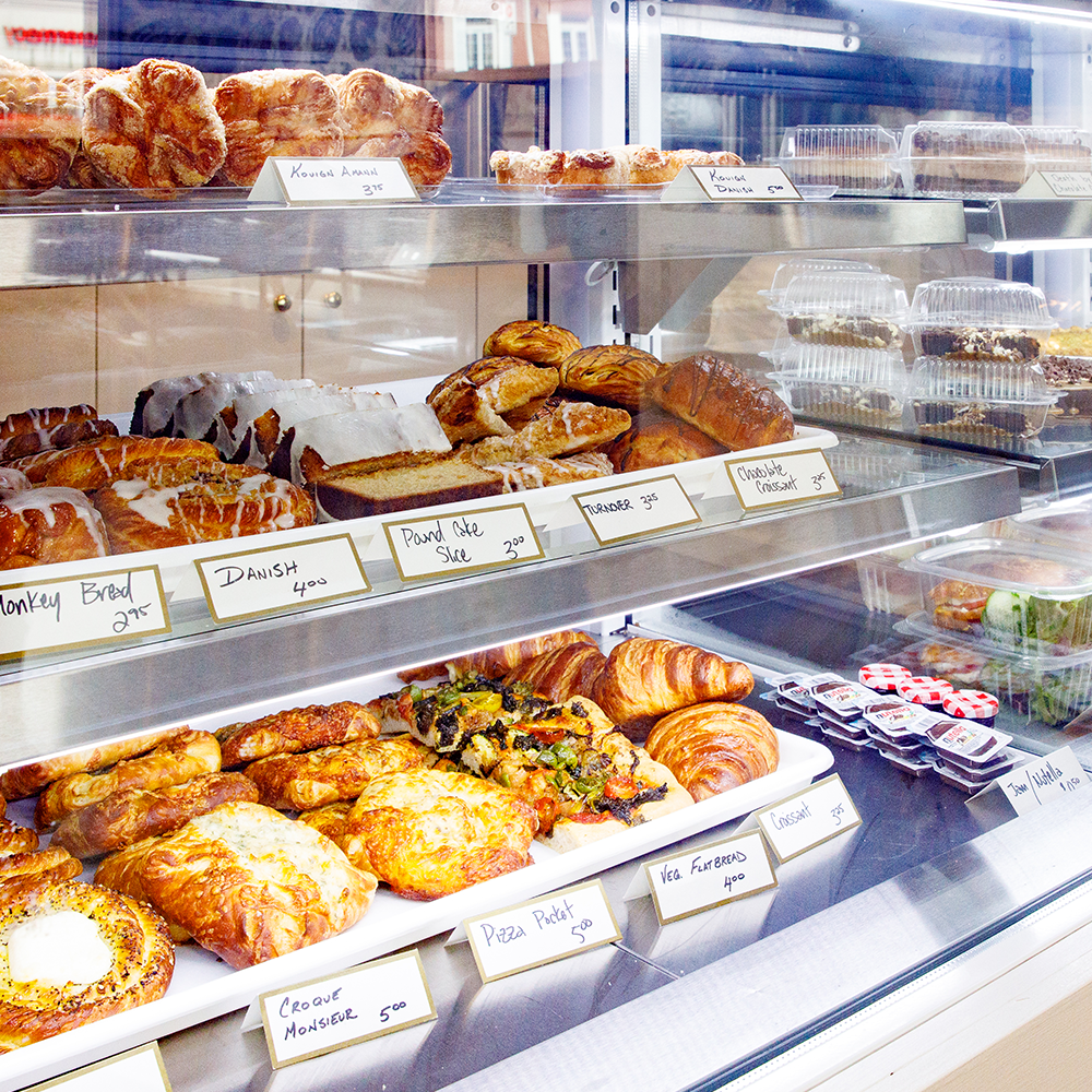 Turnbridge Talbot bakery in Easton, Maryland - Shows a close-up of the bakery case filled with sweet and savory pastries