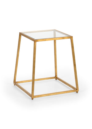 Bauhaus Table from the Jamie Merida Collection for Chelsea House - Side table with gold leaf base and glass top isolated on white backgorund
