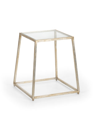 Bauhaus Table from the Jamie Merida Collection for Chelsea House - Side table with silver leaf base and glass top isolated on white backgorund
