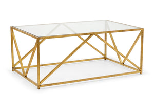 Glass-Top Harlequin Coffee Table from the Jamie Merida Collection for Chelsea House - antique gold base with glass top isolated on white background
