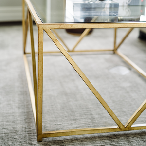 Glass-Top Harlequin Coffee Table from the Jamie Merida Collection for Chelsea House - Detailed shot zoomed in to show the table base finish