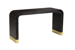 Waterfall console in black raffia - Jamie Merida Collection for Chelsea House