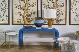 Waterfall console in blue with bench and artwork - from the Jamie Merida Collection for Chelsea House